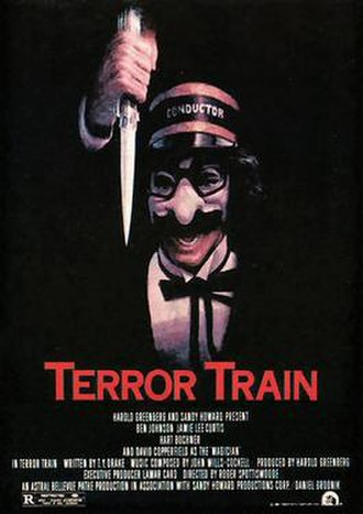 Terror Train - Original theatrical one-sheet, prominently featuring the villain in a Groucho Marx mask