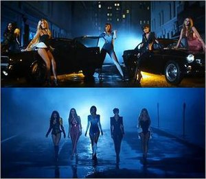 "Ego (The Saturdays song) - A frame of The Saturdays in the music video for ""Ego"", showing their superhero outfits."