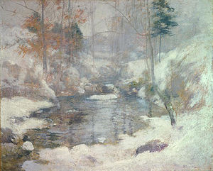 Winter Harmony (1890s) by John Henry Twachtman, a scene at his Greenwich farm (National Gallery of Art)