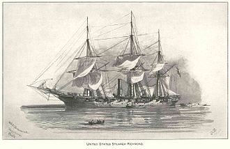 Battle of the Head of Passes - USS Richmond, wooden steam sloop of the Union fleet. The Manassas proved to be slow and difficult to maneuver on the Mississippi River.