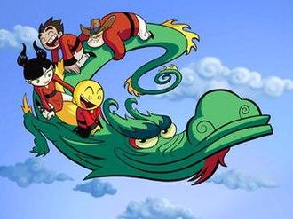 Xiaolin Showdown - The main characters riding Dojo, clockwise from bottom: Omi, Kimiko, Raimundo, and Clay.