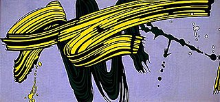 <i>Yellow and Green Brushstrokes</i> painting by Roy Lichtenstein