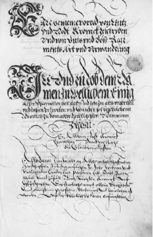 Valerius Anshelm - First page of an official copy of Anshelm's Berner Chronik, written by his son Peter Paul Anshelm.