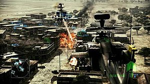 Ace Combat: Assault Horizon - Screenshot as seen in the game. Here, players will take control of an AH-64 Apache gunship helicopter for a short time