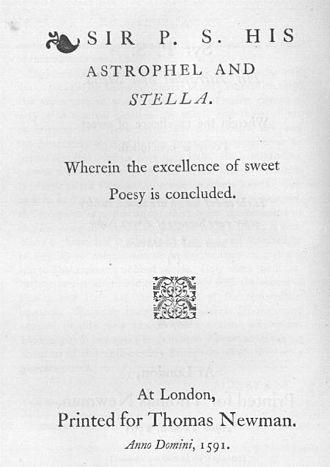1591 in poetry - Title page of Philip Sidney's Astrophel and Stella