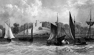 West Thurrock - Belmont Castle seen from the River Thames circa 1830