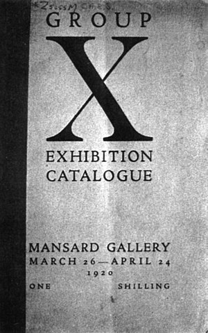 Group X - Cover of the catalogue of the Mansard Gallery exhibition