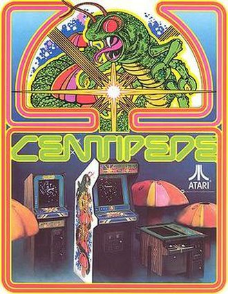 Centipede (video game) - Promotional flyer, showcasing the arcade cabinets used for the title