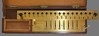 Arithmometer - Image: Close up of the front panel of a Thomas Arithmometer