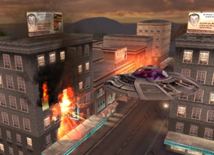 Destroy All Humans! (video game) - Crypto destroys a department store in his saucer