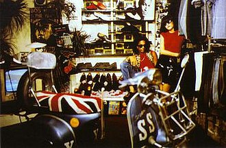 Acme Attractions - Then co-workers Don Letts and Jeanette Lee (co-owner of Rough Trade Records ) in the basement Acme Attractions store