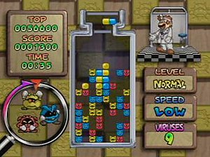 Dr. Mario 64 - A screenshot of Dr. Mario 64 gameplay.