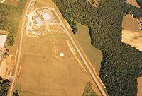 White sand circular target at a drop zone