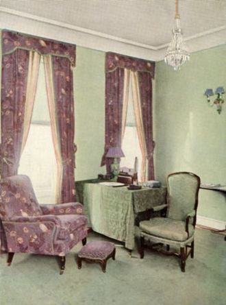 Elsie de Wolfe - A room designed by Elsie de Wolfe. Color photograph from The House in Good Taste, 1913