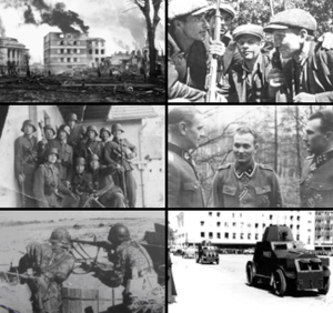 Estonia in World War II - Clockwise from top left: Tallinn after the great Soviet bombing raid; Platoon of Estonian Forest Brothers; Estonian commanders Rebane, Nugiseks and Riipalu; Estonian armoured regiment on march in 1940; Estonian MG team in the Battle of Tannenberg Line; conscripts of the Estonian Legion