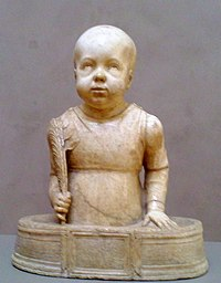 Sculpture of St. Cyricus as a bald toddler standing in a small tub and holding a palm branch