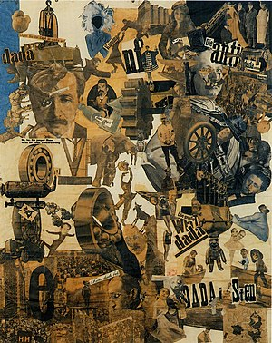 Collage - Hannah Höch, Cut with the Dada Kitchen Knife through the Last Weimar Beer-Belly Cultural Epoch in Germany, 1919, collage of pasted papers, 90x144 cm, Staatliche Museum, Berlin.