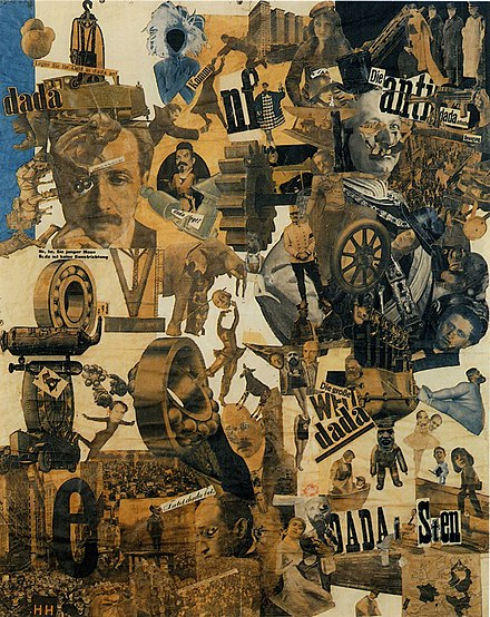 Hannah Höch, Cut with the Kitchen Knife through the Beer-Belly of the Weimar Republic, 1919, collage of pasted papers, 90 x 144 cm, Staatliche Museen, Berlin. - Hannah Höch