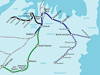 Eastern Suburbs railway line - The Eastern Suburbs line is shown in blue. Proposed extensions are shown as dotted lines. Unbuilt or uncompleted stations are shown in brackets.