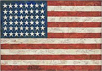 Jasper Johns's 'Flag', Encaustic, oil and collage on fabric mounted on plywood,1954-55.jpg