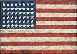 Jasper Johns's 'Flag', Encaustic, oil and collage on fabric mounted on plywood,1954-55