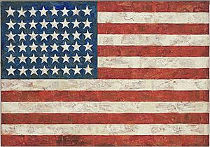 Pop art - Jasper Johns, Flag, 1954–55 (dated on reverse 1954)