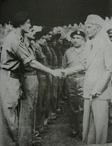 Muhammad Ali Jinnah, the founder of Pakistan, meeting with officers of 6th Bn, Frontier Force Rifles (Now 1st FF).