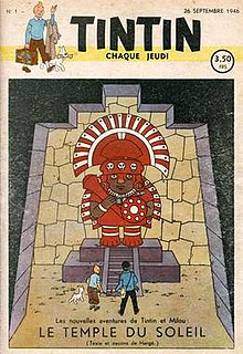 The cover of the first issue of Tintin magazine shows Tintin and Haddock approaching a large Inca statue.