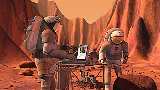 Vision for Space Exploration - NASA concept of Mars-crew analyzing a sample (2004).