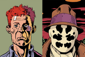 "Rorschach (comics) - Walter Kovacs, Rorschach I's ""disguise"" (left); and the inkblot mask, Rorschach I's ""true face"" (right)."