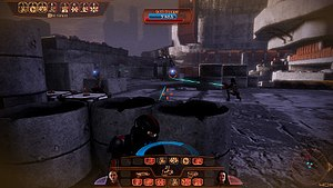 Mass Effect 2 - In combat, the player can pause the action to calmly target enemies and select different powers for the squad members to use. The enemy's life bars are shown in a frame at the top of the screen.