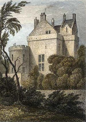 Merchiston Tower - Merchiston Tower as it appeared in 1829, showing the addition to the front made by the Merchiston Castle School, which occupied it at that time.