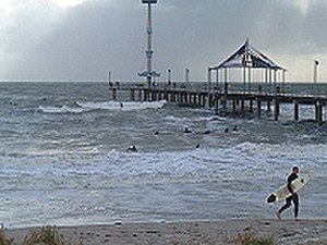 "Brighton, South Australia - A ""Stormy Session"" by the Brighton jetty"