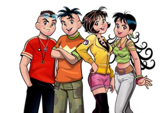 Monica Teen - From left to right, the main characters are: Smudge, Jim Five (formerly Jimmy Five), Monica and Maggie.