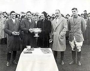 Monty Waterbury Cup - Aknusti, winners of the 1938 Monty Waterbury Cup. Left to right: Robert L. Gerry, Jr., Elbridge T. Gerry, Sr., Mrs. Raymond Guest, Charles Thomas Irvine Roark, Raymond R. Guest
