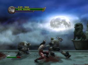 Mortal Kombat: Shaolin Monks - A gameplay screenshot of Liu Kang fighting against Oni enemies