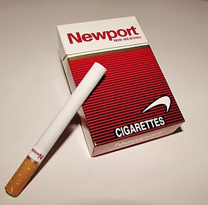 Newport (cigarette) - A pack of Newport Non-Menthol (Red), king size box.