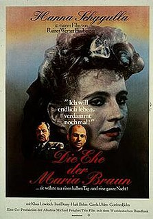 <i>The Marriage of Maria Braun</i> 1979 film by Rainer Werner Fassbinder