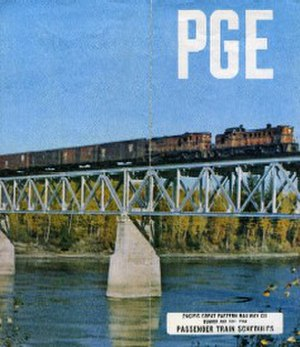 BC Rail - A 1964 PGE passenger timetable cover; Peace River at Taylor.