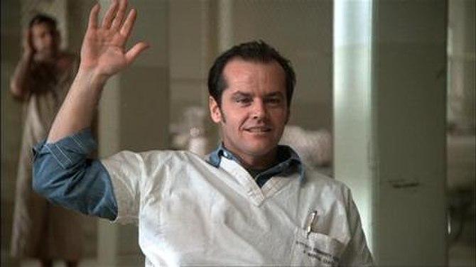 Jack Nicholson as Randle Patrick McMurphy atte...