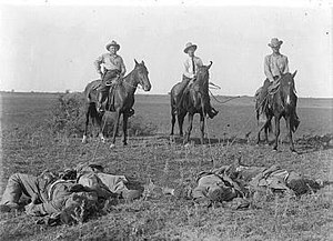 Texas Ranger Division - Capt. Monroe Fox and two other Rangers on horseback with their lariats around the bodies of dead Mexican bandits, after the Norias Ranch Raid August 8, 1915