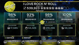 "Rock Band 3 - Road Challenges provide new ways for Rock Band 3 players to interact with their library, providing numerous tour options and performance challenges. These provide ""spades"" in addition to stars for good performances, and individual performances are tracked during a song to provide additional feedback to players. Along the bottom are individual menus that are part of the game's new ""overshell"" that allow a player to change settings without affecting the other players."