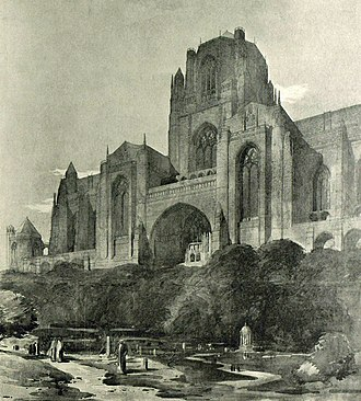 Liverpool Cathedral - Scott's 1910 redesign, with central tower