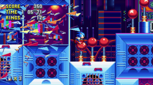 Sonic Mania - Gameplay screenshot showing Sonic in Studiopolis Zone, one of the original levels created for Sonic Mania