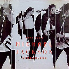 "The cover to ""Speechless"" features a man with long dark hair in four different poses. He is against a white background and his name (Michael Jackson), as well as ""Sony Music"" and ""Speechless"" are printed in red toward the bottom of the cover."