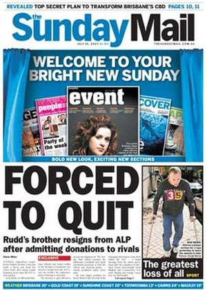The Sunday Mail (Brisbane) - Image: Sundaymail bne frontpage