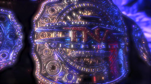 A red and gold championship belt with a red leather strap