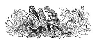 Gaius Valerius Troucillus - A 19th-century illustration depicting the chained Troucillus in the moment before his rescue by Julius Caesar
