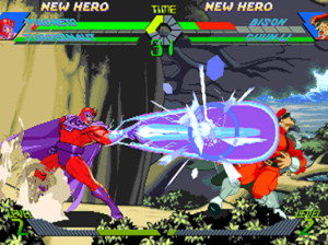X-Men vs. Street Fighter - Magneto attacks M. Bison, while their respective teammates, Juggernaut and Chun-Li, await off-screen. Players can choose to tag in their secondary character at any given point.
