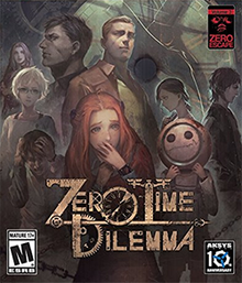 "The cover art shows the game's nine main characters, with cogs and chains surrounding them. A large clock face is in the top right, with the shadow of a person wearing a plague doctor mask and a hat cast onto it. The game's logo consists of the words ""Zero Time Dilemma"", with several letters created from mechanical parts, including cogs and a clock hand."